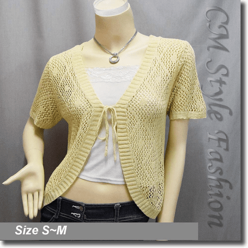 Front Tie Eyelet Crochet Cardigan Sweater Top Beige
