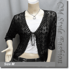 Front Tie Eyelet Crochet Cardigan Sweater Top Black