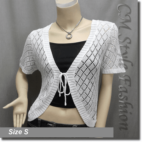 Front Tie Eyelet Crochet Cardigan Sweater Top Off White