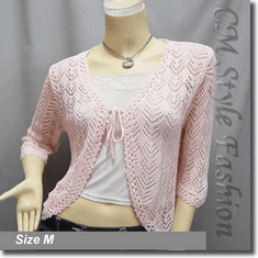 Front Tie Eyelet Crochet Cardigan Sweater Top Pink