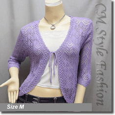 Front Tie Eyelet Crochet Cardigan Sweater Top Purple