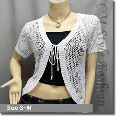 Front Tie Eyelet Crochet Cardigan Sweater Top White
