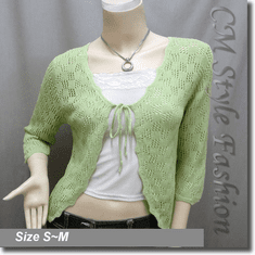 Front Tie Eyelet Crochet Knit Cardigan Top Green
