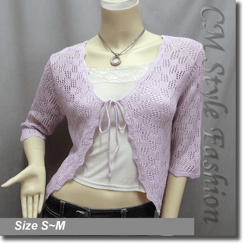 Front Tie Eyelet Crochet Knit Cardigan Top Light Purple