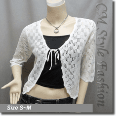 Front Tie Eyelet Crochet Knit Cardigan Top Off White
