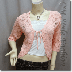 Front Tie Eyelet Crochet Knit Cardigan Top Orange