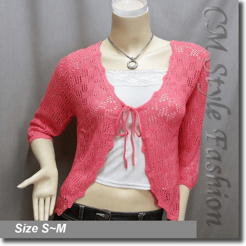 Front Tie Eyelet Crochet Knit Cardigan Top Pink