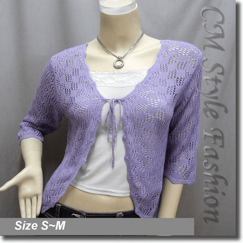 Front Tie Eyelet Crochet Knit Cardigan Top Purple