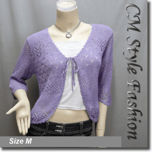 Front Tie Eyelet Knit Shrug Bolero Top Purple