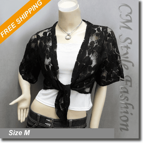 Front Tie Floral Shrug Cropped Bolero Cardigan Topper Black
