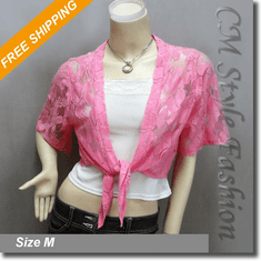 Front Tie Floral Shrug Cropped Bolero Cardigan Topper Pink