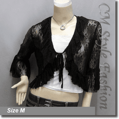Front Tie Lace Shrug Cropped Bolero Cardigan Topper Black