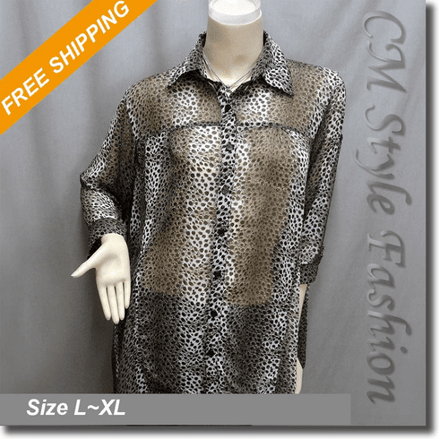 Funky Animal Leopard Print Golden Glitters Shirt Tunic Top Brown