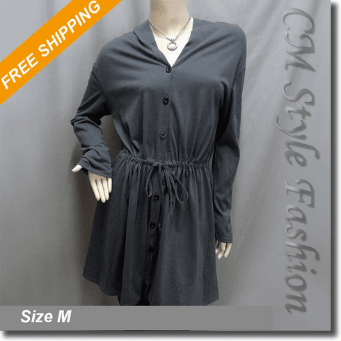 Funky Button Down Drawstring Tie Coat Dress Top Gray