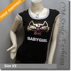 Funky Cat Baby Girl Sequined Fashion Tee Top Black