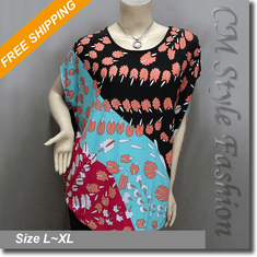 Funky Colorful Leaf Print Cocoon Blouse Boho Top Multi-colored