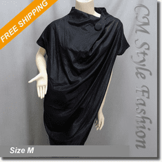 Funky Cowl Neck Drapey Ruch Smock Tunic Top Black