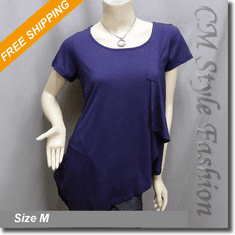 Funky Design Asymmetric Drapey Flowy Tunic Top Purple
