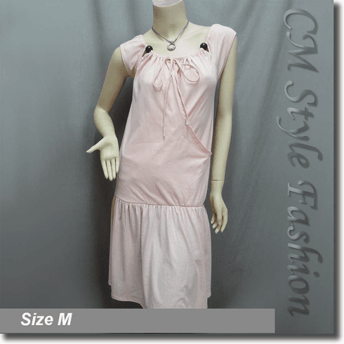 Funky Drawstring Tie Neckline Wooden Bead Smock Tunic Dress Top Pink