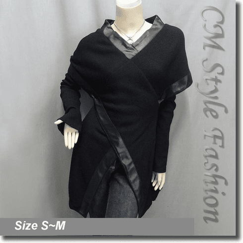 Funky Patchwork Tunic Top with Detachable Arm Warmer Black