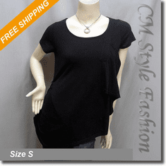 Funky Ruched Asymmetric Blouse Tunic Top Black