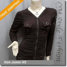 Funky Sequin Zip Up Ruched Jacket Top Brown