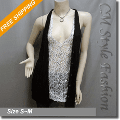 Funky Sequined Sleeveless Layering Tunic Top Black White
