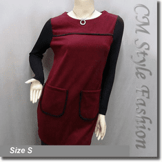 Funky Style Patched Pockets Frock Tunic Top Black Burgundy