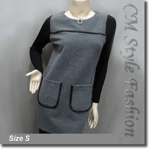 Funky Style Patched Pockets Frock Tunic Top Black Grey