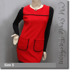 Funky Style Patched Pockets Frock Tunic Top Black Red