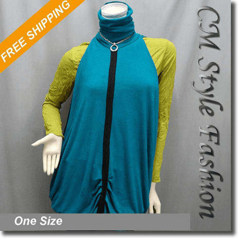 Funky Turtleneck Drape Ruched Overlaying Tunic Top Green