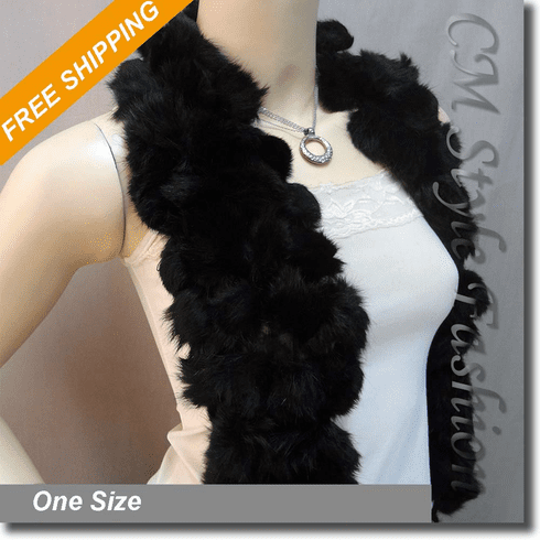 Fur Balls Pom Pom Fluffy Scarf Wrap Black