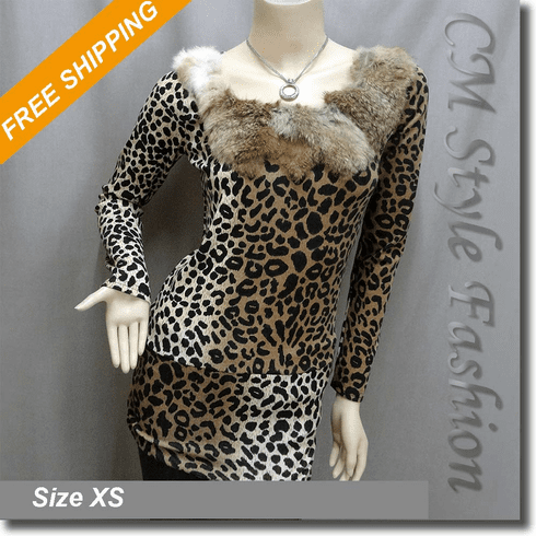 Fur Collar Leopard Print Tunic Top Brown