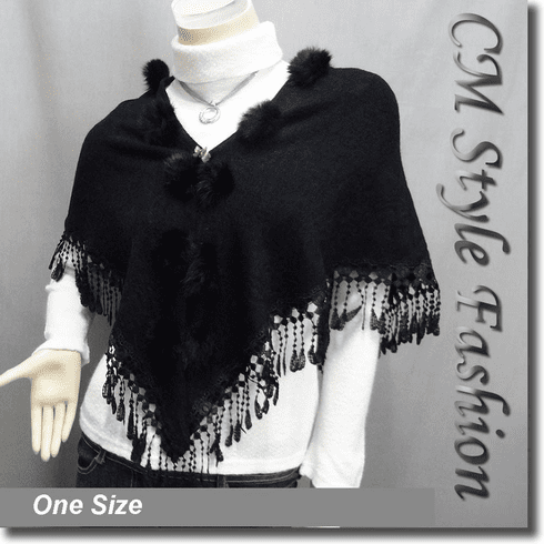 Fur Pom Pom Crochet Fringes Shawl Scarf Black