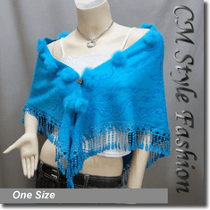 Fur Pom Pom Crochet Fringes Shawl Scarf Blue