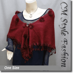 Fur Pom Pom Crochet Fringes Shawl Scarf Burgundy