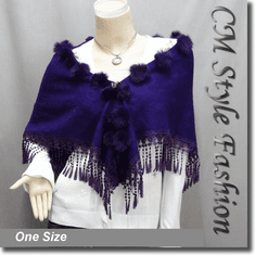 Fur Pom Pom Crochet Fringes Shawl Scarf Purple