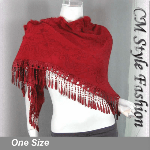 Fur Pom Pom Crochet Fringes Shawl Scarf Red