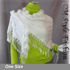 Fur Pom Pom Crochet Fringes Shawl Scarf White