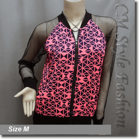 Geometric Prints Net Sleeves Front Zip Jacket Blouse Top Black Pink