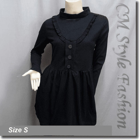 Girlie Ruffled Buttons Smock Tunic Dress Top Black