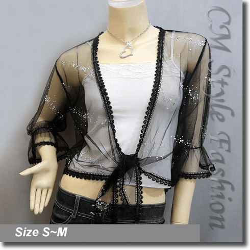Glam Sheer Mesh Front Tie Shrug Cropped Bolero Topper Black
