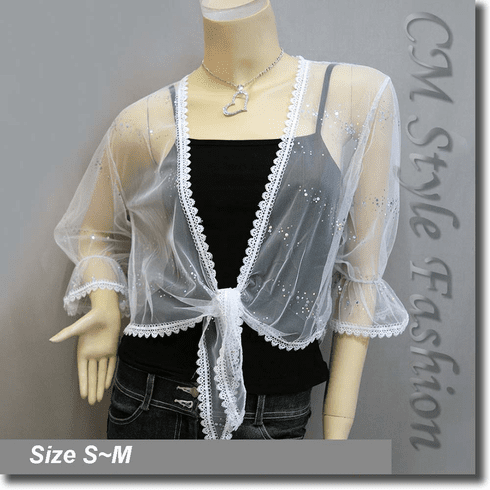 Glam Sheer Mesh Front Tie Shrug Cropped Bolero Topper White