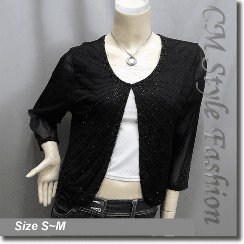 Glistering Beaded Embroidered Evening Bolero Shrug Top Black