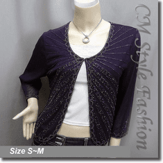 Glistering Beaded Embroidered Evening Bolero Shrug Top Purple