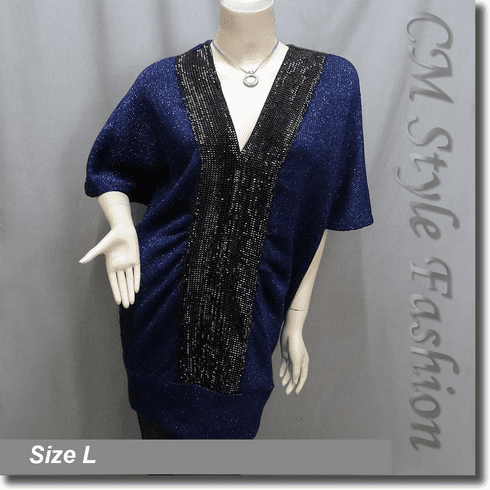 Glitter Glam Batwing Smock Tunic Dress Top Blue Black