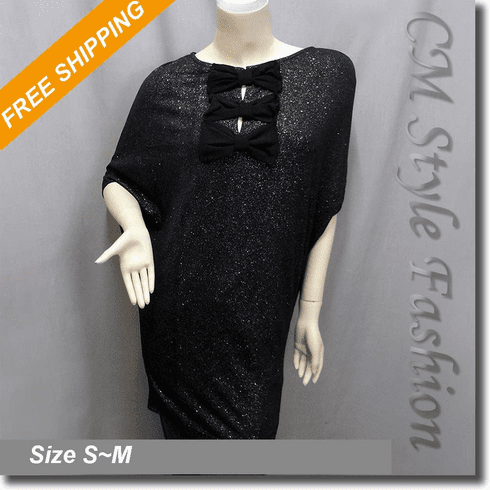 Glittering Bow Details Batwing Tunic Frock Top Black