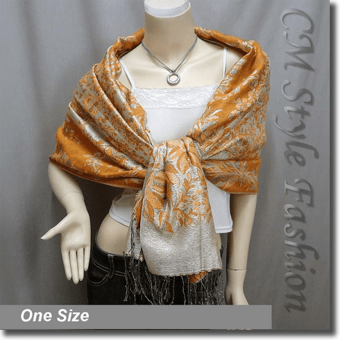 Glittering Glam Foral Print Scarf Shawl Wrap Orange Gold Beige