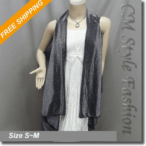 Glittering No-Sew Flowy Layering Vest Top Gray