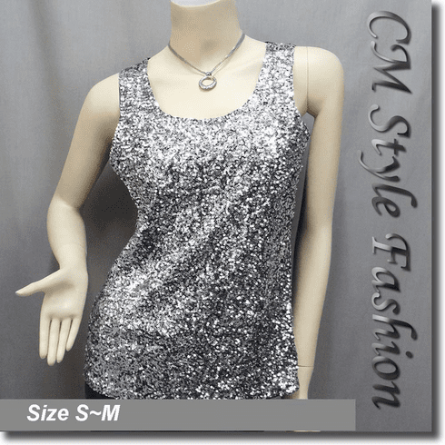 Glittering Sequin Sleeveless Tank Vest Top Silvery